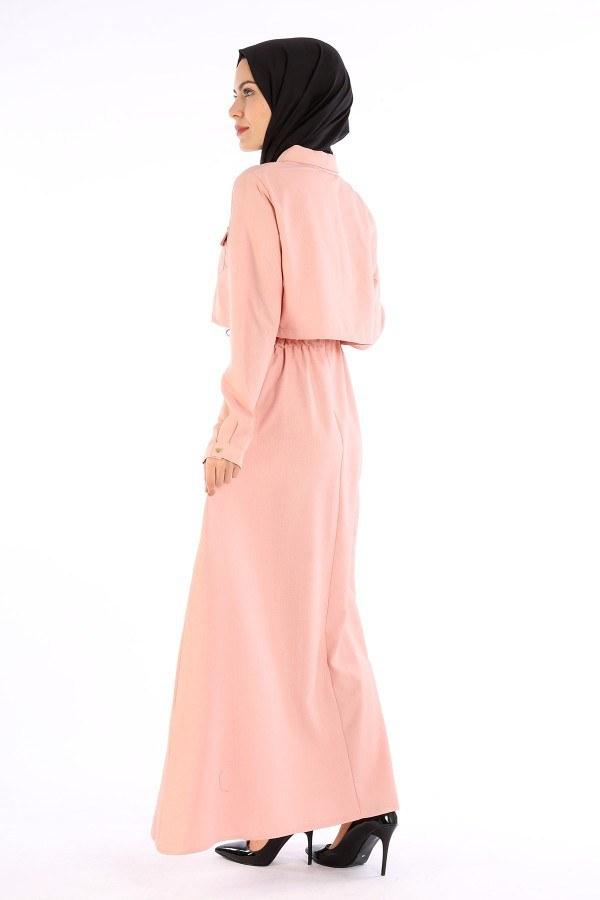 Şık Tesettür Elbise 8201-12