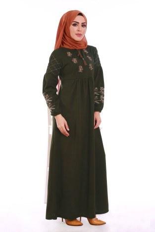 - Nakış Detaylı Triko Elbise 4700-08