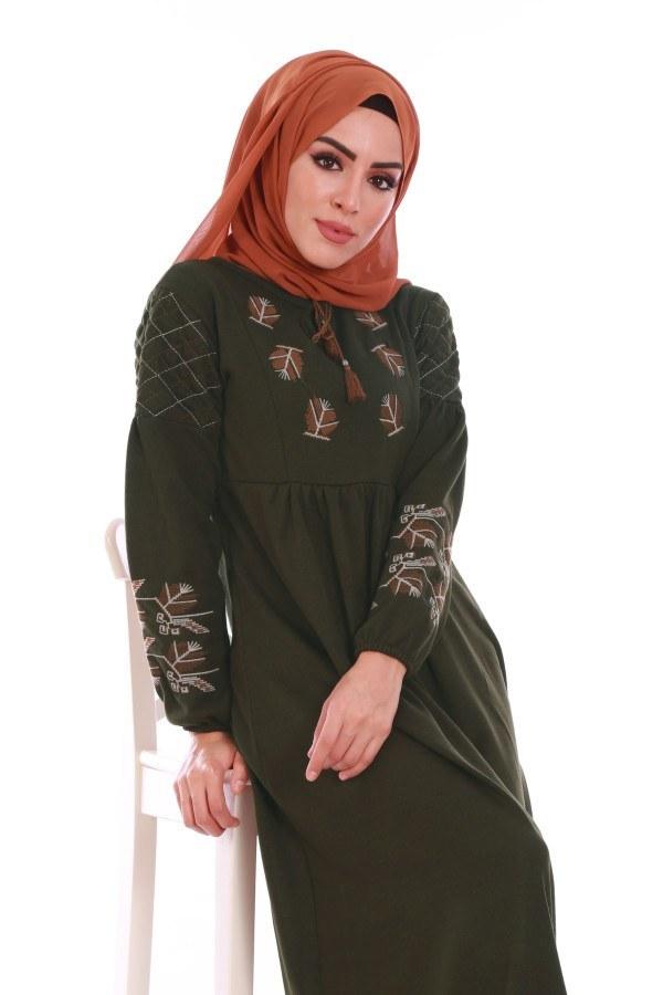 - Nakış Detaylı Triko Elbise 4700-08 (1)