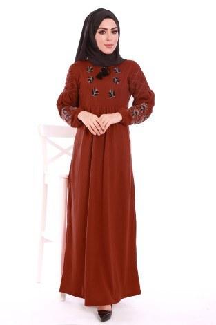 - Nakış Detaylı Triko Elbise 4700-06