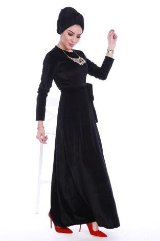 - Beli Kuşaklı Kadife Elbise 7852-01