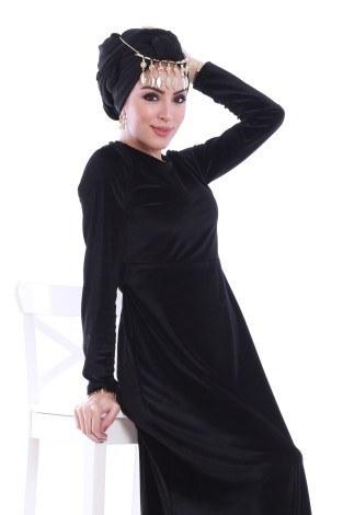 - Beli Kuşaklı Kadife Elbise 7852-01 (1)