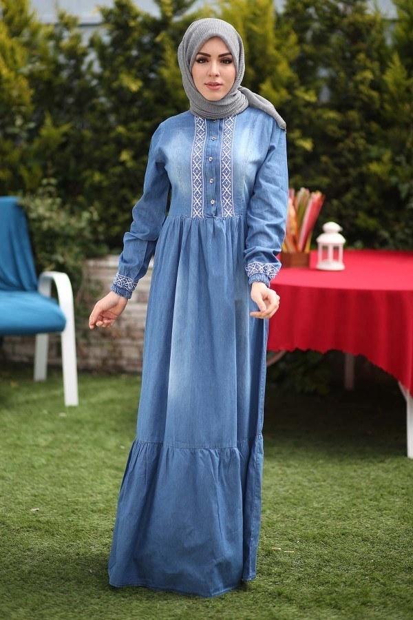 - Nakış İşlemeli Kot Elbise 89550-2