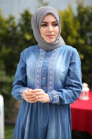- Nakış İşlemeli Kot Elbise 89550-2 (1)