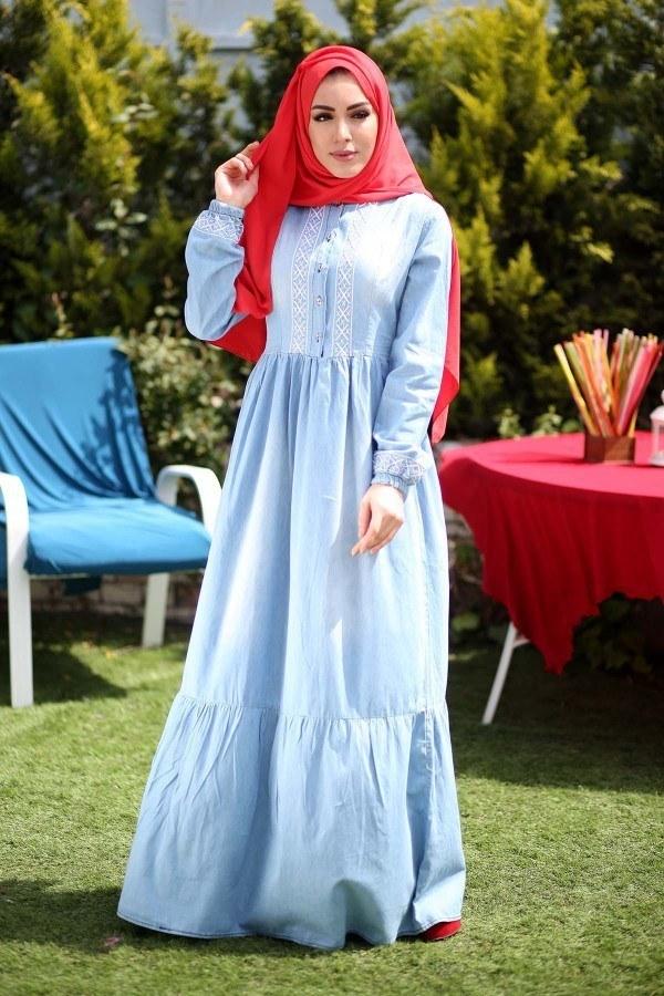 - Nakış İşlemeli Kot Elbise 89550-1