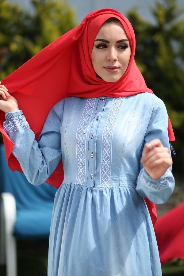 - Nakış İşlemeli Kot Elbise 89550-1 (1)