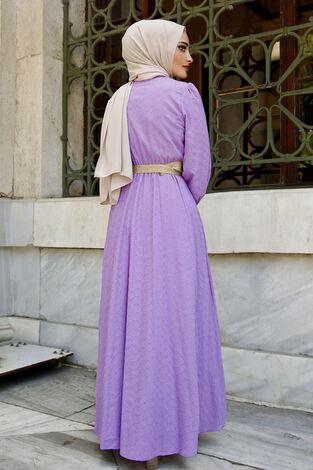 Nakışlı Abiye Elbise Lila - Thumbnail
