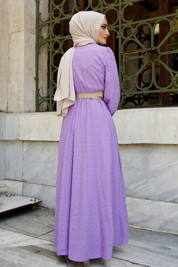 Nakışlı Abiye Elbise Lila
