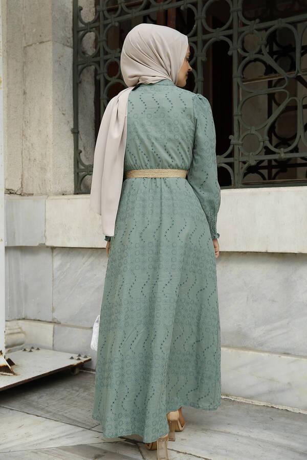 Nakışlı Abiye Elbise Mint