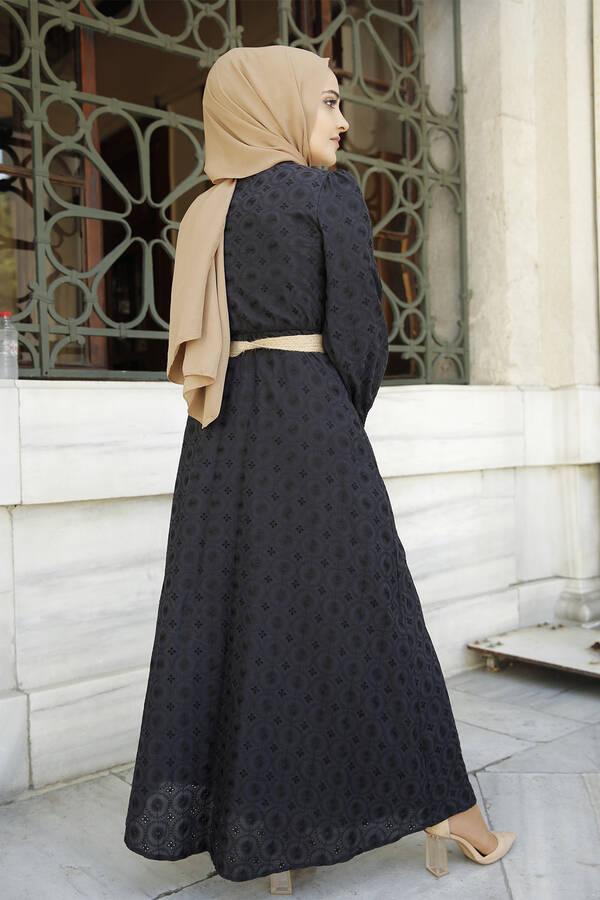 Nakışlı Abiye Elbise Siyah