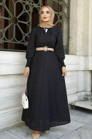 Nakışlı Abiye Elbise Siyah - Thumbnail