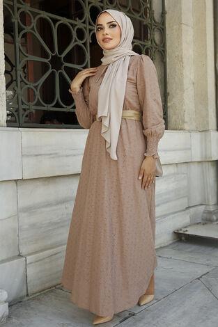 Nakışlı Abiye Elbise Vizon - Thumbnail