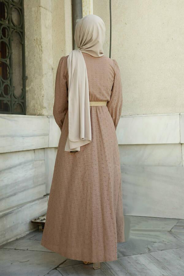 Nakışlı Abiye Elbise Vizon