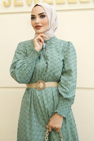 Nakışlı Abiye Elbise Yeşil - Thumbnail