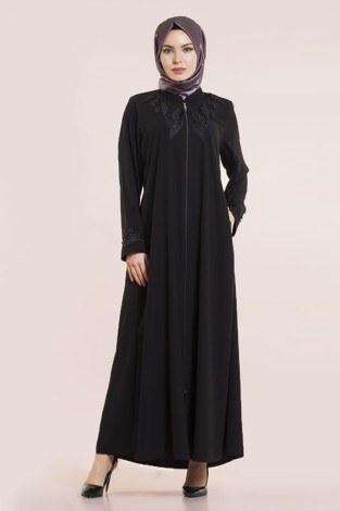 - Nakışlı Boncuklu Ferace modahayme 8110-2-siyah