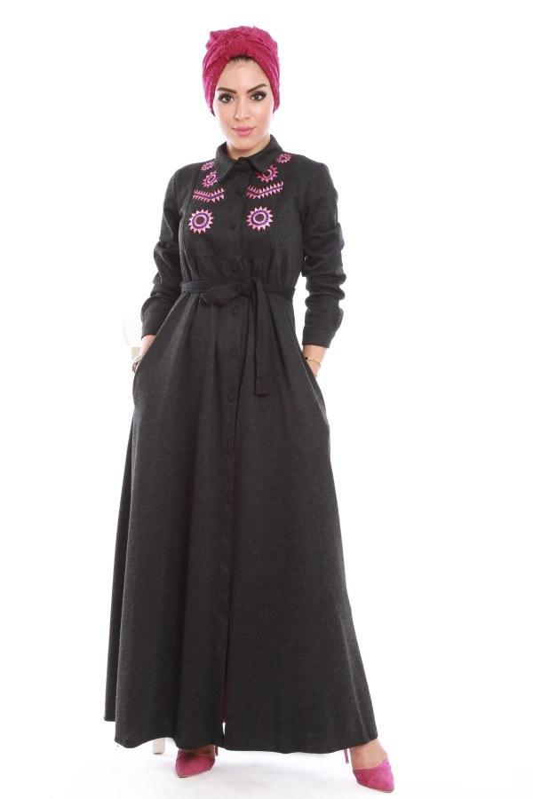 - Nakışlı Detaylı Ferace Elbise 31118-03