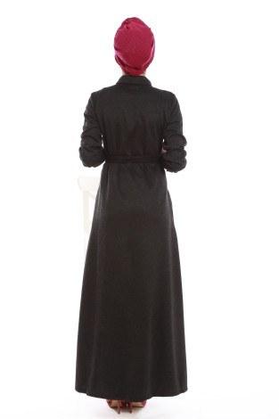 Nakışlı Detaylı Ferace Elbise 31118-03 - Thumbnail