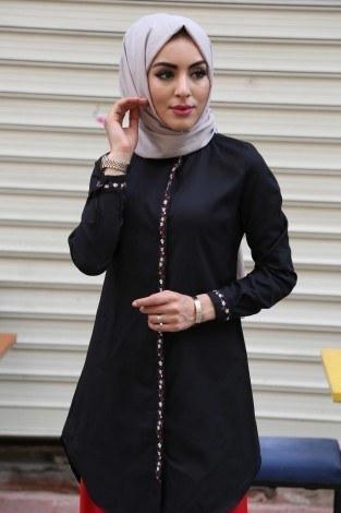 - Nakışlı Gömlek Tunik 7849-1 siyah (1)
