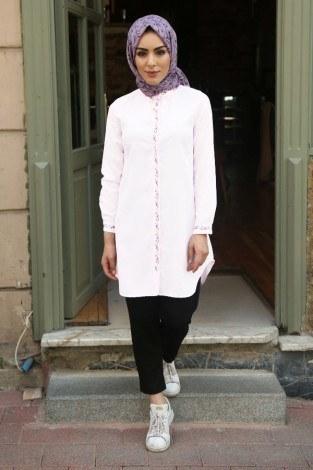 - Nakışlı Gömlek beyaz Tunik 7849-5