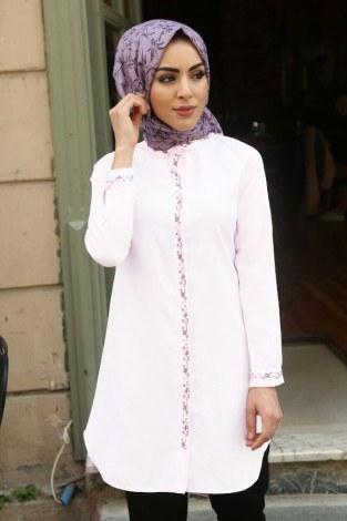 - Nakışlı Gömlek beyaz Tunik 7849-5 (1)