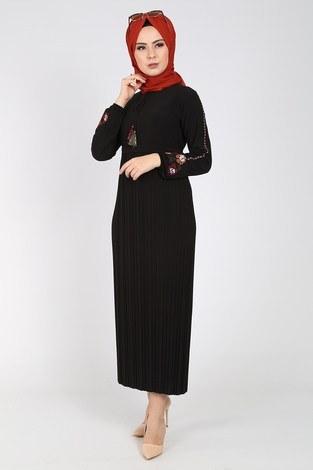 - Nakışlı Piliseli Elbise 8080-1