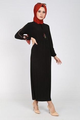 Nakışlı Piliseli Elbise 8080-1 - Thumbnail