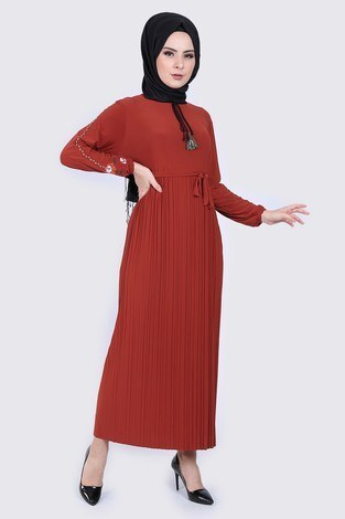 - Nakışlı Piliseli Elbise 8080-2