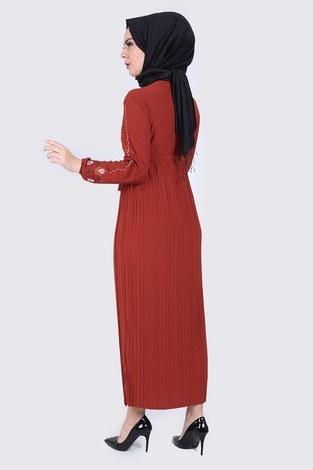 Nakışlı Piliseli Elbise 8080-2 - Thumbnail