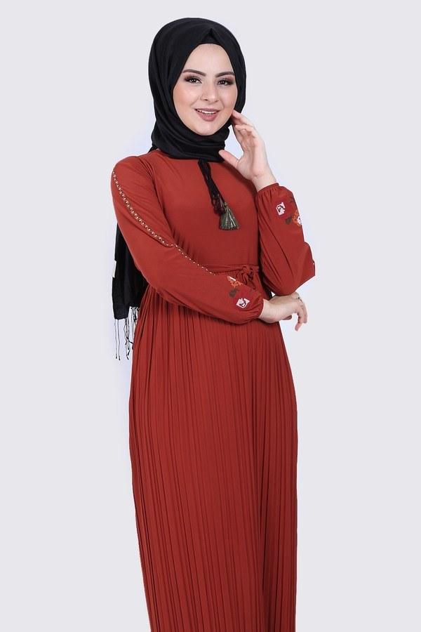 Nakışlı Piliseli Elbise 8080-2