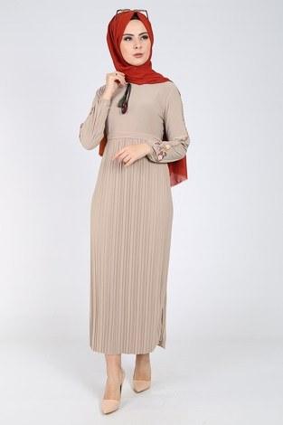 - Nakışlı Piliseli Elbise 8080-3