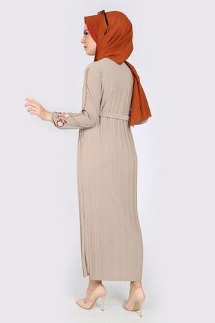 Nakışlı Piliseli Elbise 8080-3 - Thumbnail