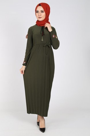 Nakışlı Piliseli Elbise 8080-4 - Thumbnail