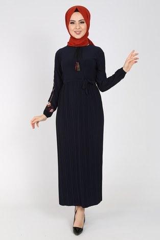- Nakışlı Piliseli Elbise 8080-5
