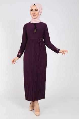 - Nakışlı Piliseli Elbise 8080-6