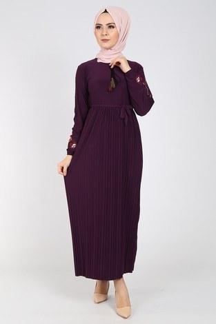 Nakışlı Piliseli Elbise 8080-6 - Thumbnail