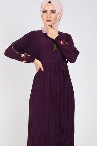 - Nakışlı Piliseli Elbise 8080-6 (1)