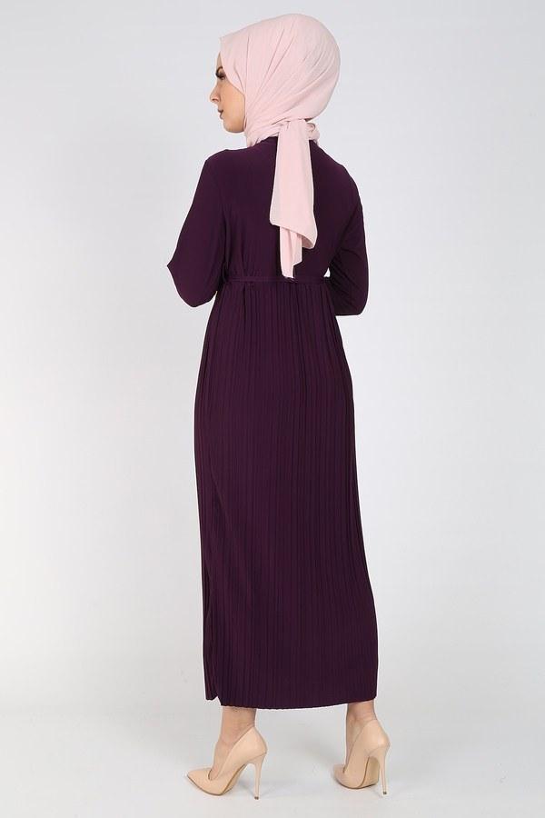 Nakışlı Piliseli Elbise 8080-6