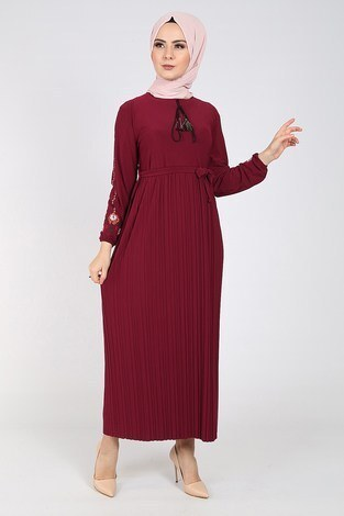 - Nakışlı Piliseli Elbise 8080-7