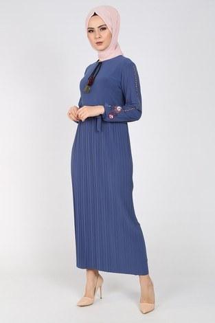 - Nakışlı Piliseli Elbise 8080-8