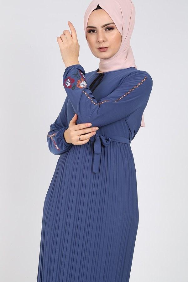 Nakışlı Piliseli Elbise 8080-8