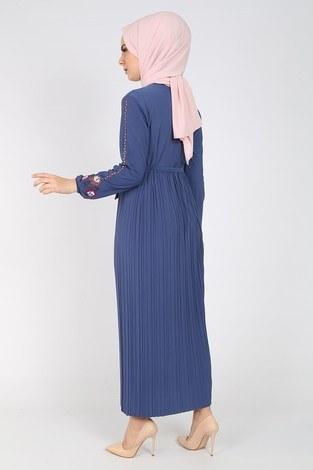 Nakışlı Piliseli Elbise 8080-8 - Thumbnail