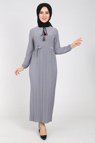 - Nakışlı Piliseli Elbise 8080-9
