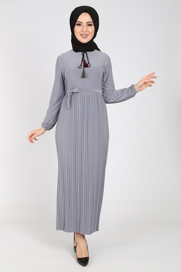 Nakışlı Piliseli Elbise 8080-9