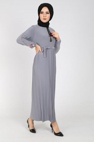 Nakışlı Piliseli Elbise 8080-9 - Thumbnail