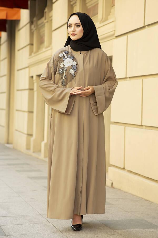 Nakışlı Taş Detaylı Abaya Elbise 170ASH-11455 Bej