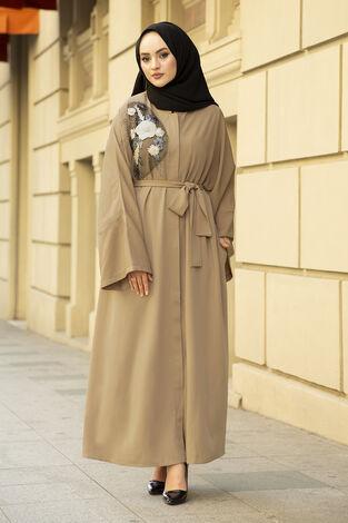 Nakışlı Taş Detaylı Abaya Elbise 170ASH-11455 Bej - Thumbnail