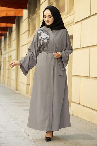 Nakışlı Taş Detaylı Abaya Elbise 170ASH-11455 Gri - Thumbnail