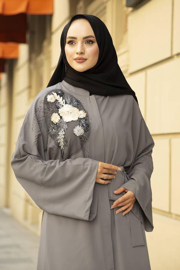 Nakışlı Taş Detaylı Abaya Elbise 170ASH-11455 Gri