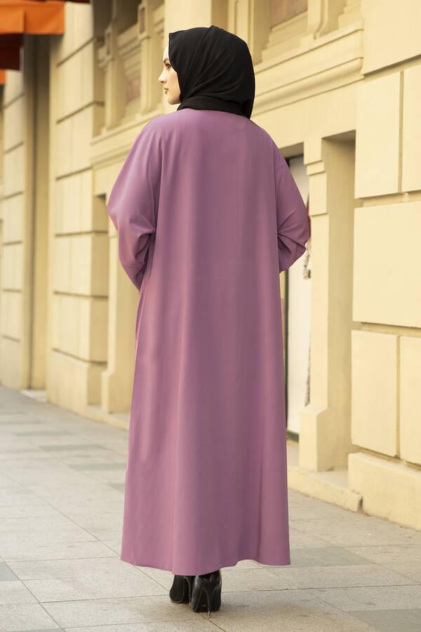 Nakışlı Taş Detaylı Abaya Elbise 170ASH-11455 Gülkurusu