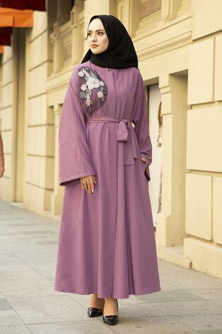 Nakışlı Taş Detaylı Abaya Elbise 170ASH-11455 Gülkurusu - Thumbnail